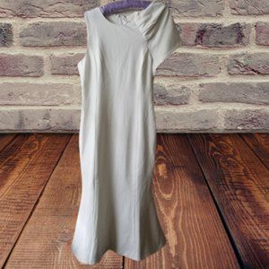 White Body Con Dress with Asymetric Sleeves
